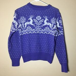 Periwinkle purple knit crop vintage crew sweater